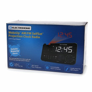Electrohome WakeUp AM/FM SelfSet Projection Clock Radio with Dual Alarm