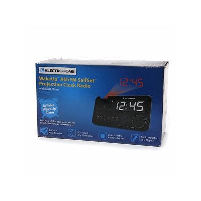 Electrohome WakeUp AM/FM SelfSet Projection Clock Radio with Dual Alarm