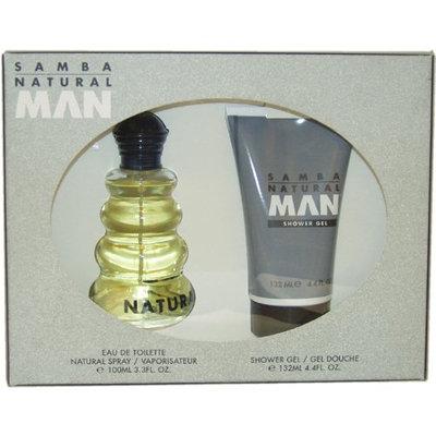 Samba Natural By Perfumers Workshop For Men. Gift Set ( Eau De Toilette Spray 3.3 Oz + Shower Gel 4.4 Oz).