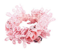 Uxcell Lady Ruffles Flower Decor Elastic Hairband Hair Tie