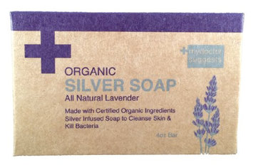 Organic Silver Soap - All Natural Lavender: Made with Certified Organic Ingredients. Silver Infused Soap to Cleanse Skin & Kill Bacteria. 4oz Bar (1 Bar)