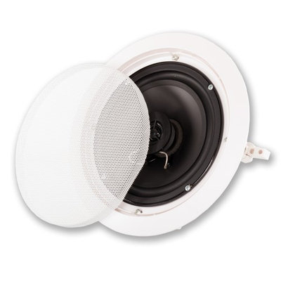 Acoustic Audio HTI6c Round 250 Watt 6.5 In-Wall/Ceiling Home Speaker - 8 Ohm