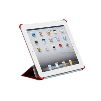 Monoprice Synthetic Leather Stand/Cover with Magnetic Latch for iPad 2, iPad 3, iPad 4 - Red