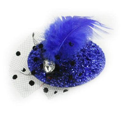Uxcell Feather Top Hat Cocktail Mesh Net Hairclip