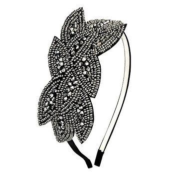 Art Deco Headpiece Flapper Headband 1920s Headpiece Black Rhinestone Headband for Women