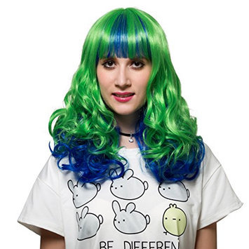 Green Ombre Curly Wavy Wig