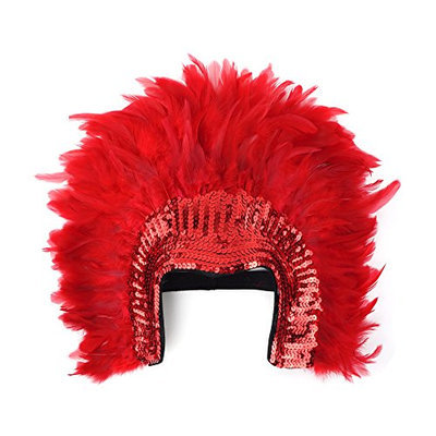 Zucker Feather Products Red Coque Feather Headdress with Sequins