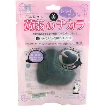 LUCKY TRENDY Konnyaku Charcoal Face Wash Puff Dry