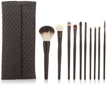 Beauty Pro Series 10 pc Brush Set with Quilted Case Black