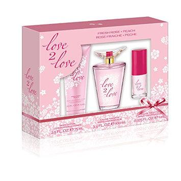 Love2Love Pink Gift Set (3.4 Ounce Eau De Toilette Plus 2.5 Ounce Body Lotion Plus 0.375 Ounce Mini Eau De Toilette)