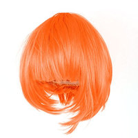 Uxcell Short Straight Flat Lady Cosplay Bangs Hair Full Wig