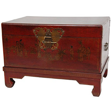 Oriental Furniture Red Lacquer Small Trunk