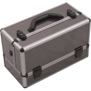 Hiker 3-Tier Accordion Trays Professional Makeup Case with 2-brush Holder in Gun Metal Smooth