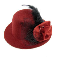 Uxcell Wedding Feather Flower Mesh Hairclip Decor Top Hat