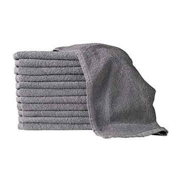 American Terry Mills 100% Cotton Salon Towels Gym Towels Hand Towel 12-Pack Gray- (16