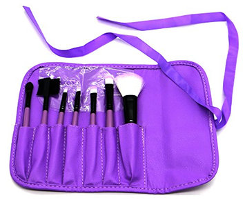 PuTwo Make up Brushes 7 Pcs Makeup Brush Set Travel Essential Cosmetic Makeup kit with Pouch Bag - Purple