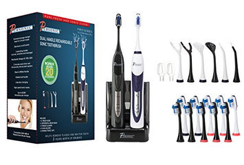 Pursonic S522Bw Dual Handle Ultra High Powered Sonic Rechargeable Toothbrush with 12 Brush Heads