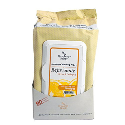 Symphony Beauty Makeup Cleansing Wipes 60 Wipes (Rejuvenate-Citrus & Collagen)