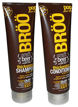 Broo Craft Beer Thickening Shampoo and Conditioner Citrus Creme 100% Natural Scent Color Safe and Vegan