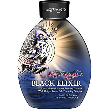 Ed Hardy Black Elixir Silicone Bronzer Tattoo Fade Protection Tanning Lotion 13.5 oz