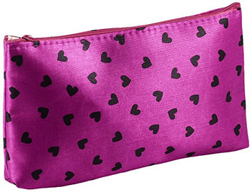 Uxcell Heart Print Magenta Zipper Closure Cosmetic Bag Case
