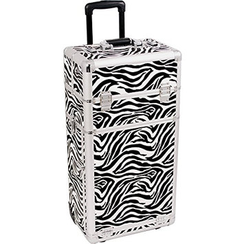 Sunrise 2-in-1 Pro Rolling Cosmetic Makeup Artists Case with Slide Trays/Bag/Brush Holder and 4 Drawers