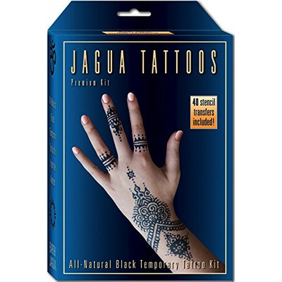 Organic Jagua Black Temporary Tattoo and Body Painting Kit. Safe for Children and Made in the USA. Enough Jagua Gel for 12-15 Designs and Applications Last 1-2 Weeks.