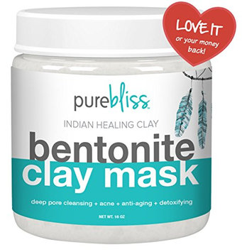Organic USA Bentonite Clay - Best for Anti-Aging & Clear Beautiful Skin. Deep Cleansing Detoxifying Acne Treatment & Pore Minimizer. 100% Pure Therapeutic Grade Aztec Secret Indian Healing Clay