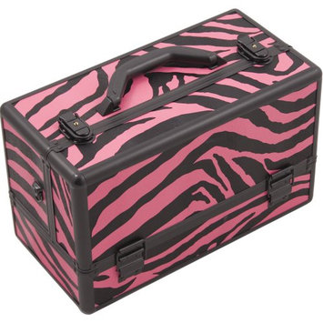 Hiker 3-Tier Accordion Trays Professional Makeup Case with 2-brush Holder in Zebra Pink