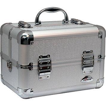Sunrise 4-Tiers Extendable Trays Makeup Lashes Artist Travel Organizer Train Case w/Shoulder Strap