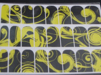 Skinz Nail Decals 24 Count Black and Yellow Swirl