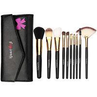 Kissemoji Synthetic Kabuki Cosmetics Foundation Powder Brush Kit with Black Bag