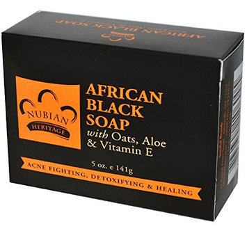 Nubian Heritage African Black Soap With Shea Butter Oats & Aloe Deep Cleansing 5 Oz (Pack of 3)