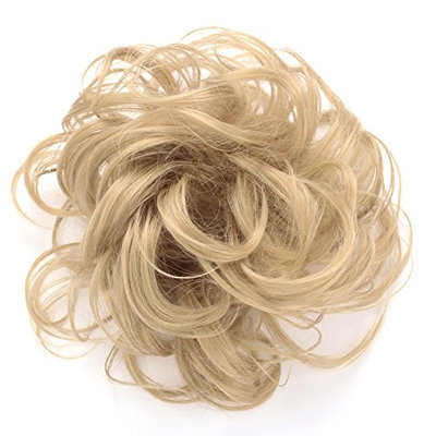 OneDor® Synthetic Clip on/in Messy Hair Bun Extension Chignon Hair Piece Wig (25#-Light Golden Blonde)