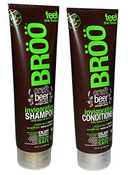 Broo Craft Beer Invigorating Shampoo and Conditioner Malted Mint 100% Natural Scent Color Safe and Vegan