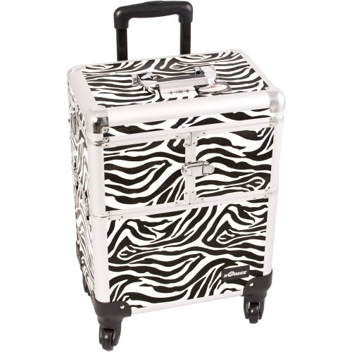 Sunrise Interchangeable 4-Wheels 3-Tier Accordion Tray Rolling Makeup Case