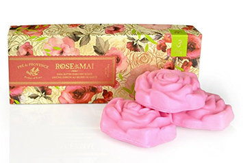 Pre de Provence Shea Butter Enriched Guest Soap Gift Set in Box - Includes three 100 Gram Rose Shape Soaps  - Rose de Mai