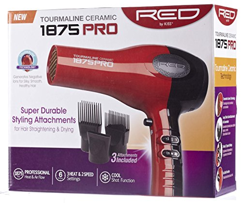 Kiss Products Red Ceramic Tourmaline Dryer with Attachment