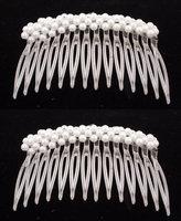 Caravan Classic Medium Pearl Strung Crystal Combs Pair