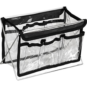Hiker 6 Pockets Foldable Clear See-Through Storage Container Box with Metal Stand
