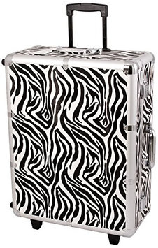 Craft Accents Zebra Textured Printing Professional Rolling Studio Makeup Case