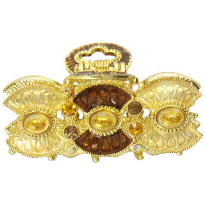 Caravan Key Opening Amber Decorated Hair Claw With Two (2) Tone Epoxy And 22 Assorted Stones
