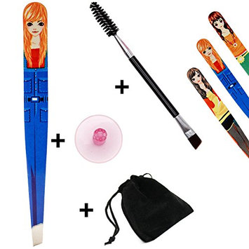 Happiest Eyebrow Tweezers Set for Women & Teens; Precision Slant Tweezers with Dual-sided Eyebrow Brush & Suction Cup & Velvet Travel Bag; Perfect Gift Set (Blonde)