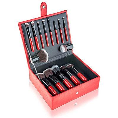 SHANY Vanity Vox 15 Piece Premium Cosmetics Brush Set with Stylish Storage Box and Stand