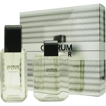 Antonio Puig Quorum Silver for Men Gift Set (Eau de Toilette Spray