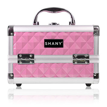 SHANY Mini Makeup Train Case With Mirror - Polite PINK