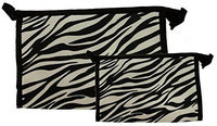 Set of 2 Matching Zebra Travel Cosmetic Bag - Makeup Bag - Toiletry Bag - Lightweight Comes in Three Silver