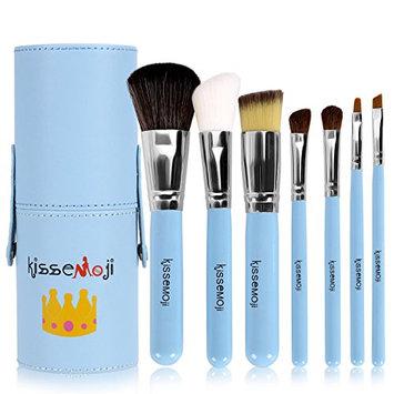 Kissemoji Professional 7 Pcs Synthetic Kabuki Makeup Brush Set Cosmetics Foundation Blending Blush Eyeliner Face Powder Brush Makeup Brush Kit with Case(7pcs