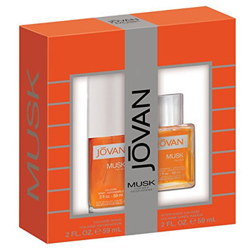 Jovan Musk Men 2 Piece Gift Set (2 Ounce Cologne Spray Plus 2 Ounce Aftershave Cologne)