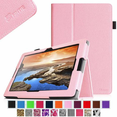 Fintie Folio Leather Case with Auto Sleep / Wake Feature for Lenovo IdeaTab A10-70 10.1-Inch Android Tablet, Pink